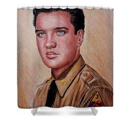 G I Elvis  Shower Curtain by Andrew Read
