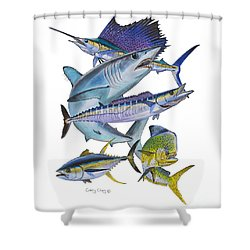 Gamefish Collage Shower Curtain by Carey Chen