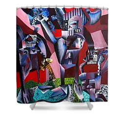 Shower Curtain featuring the painting Gaungian Dimensional by Ryan Demaree