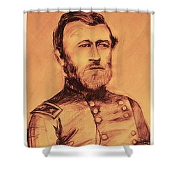 Shower Curtain featuring the painting General Us Grant by Eric  Schiabor