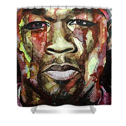 Shower Curtain featuring the painting Get Rich Or Die Tryin' by Laur Iduc