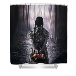 Girl In The Woods Shower Curtain by Joana Kruse