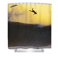Gold Leap Shower Curtain by Sean Davey