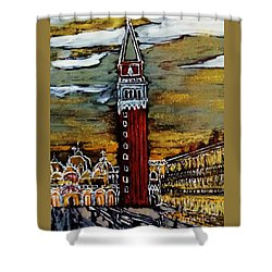 Shower Curtain featuring the painting Golden Venice by Jasna Gopic