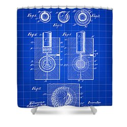 Golf Ball Patent 1902 - Blue Shower Curtain