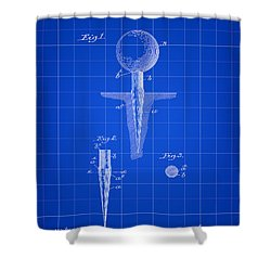 Golf Tee Patent 1899 - Blue Shower Curtain by Stephen Younts