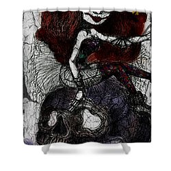 Gothic Girl And Skull Shower Curtain by Akiko Okabe