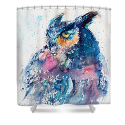 Great Horned Owl Shower Curtain by Kovacs Anna Brigitta