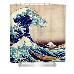 Great Wave Off Kanagawa Shower Curtain by Katsushika Hokusai