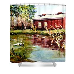 Green Acre Farm Shower Curtain by Betty M M   Wong