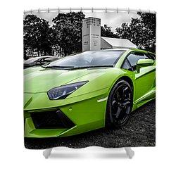 Green Aventador Shower Curtain by Matt Malloy