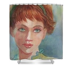 Green Eyes Shower Curtain by Marilyn Jacobson