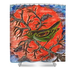 Shower Curtain featuring the painting Green Warbler by Teresa White