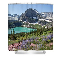 Grinnell Lake Flowers Shower Curtain
