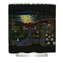 Halloween Night Shower Curtain by Brenda  Drain