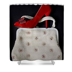 Handbag With Stiletto Shower Curtain by Joana Kruse