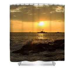 Hawaiian Waves At Sunset Shower Curtain