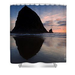 Haystack Reflections Shower Curtain by Mike  Dawson