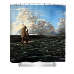 Heading For Shore Shower Curtain by Lee Piper