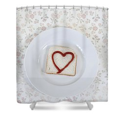 Hearty Toast Shower Curtain by Joana Kruse