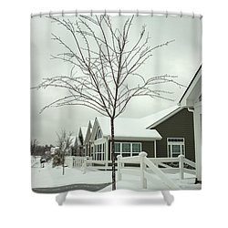 Hello Snow Shower Curtain by Roberta Byram