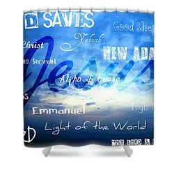 Holy Name Of Jesus Shower Curtain by Sharon Soberon