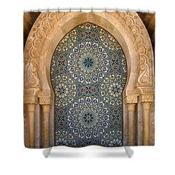 Shower Curtain featuring the photograph Holy Water Fountain Hassan II Mosque Sour Jdid Casablanca Morocco  by Ralph A  Ledergerber-Photography