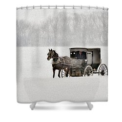 Horse And Buggy In Snow Storm Shower Curtain by Dan Friend