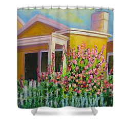 Hot Hollyhocks Shower Curtain