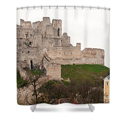 Shower Curtain featuring the photograph Hrad Beckov - Castle by Les Palenik