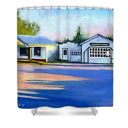 Huckstep's Garage Free Union Virginia Shower Curtain by Catherine Twomey