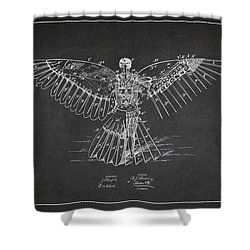 Icarus Flying Machine Patent Drawing Rear View Shower Curtain by Aged Pixel