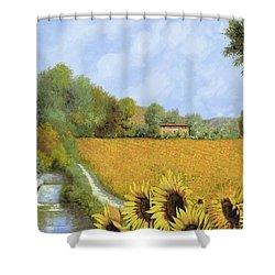Il Mulino E I Girasoli Shower Curtain by Guido Borelli