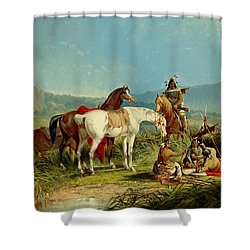 Indians Playing Cards Shower Curtain by John Mix Stanley