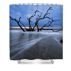 Into The Blue Shower Curtain by Debra and Dave Vanderlaan