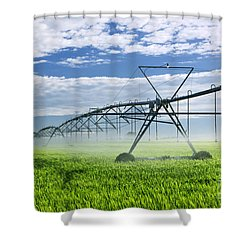 Irrigation Equipment On Farm Field Shower Curtain by Elena Elisseeva