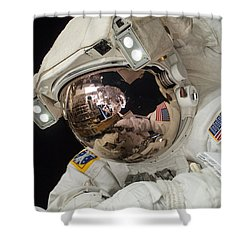 Iss Expedition 38 Spacewalk Shower Curtain by Science Source
