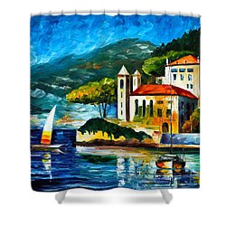 Italy Lake Como Villa Balbianello Shower Curtain by Leonid Afremov