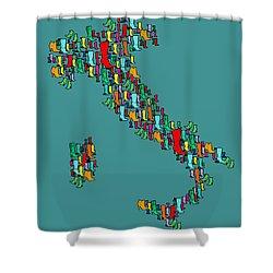 Italy Map Shower Curtain by Mark Ashkenazi