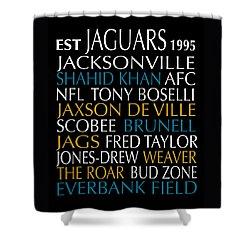 Shower Curtain featuring the digital art Jacksonville Jaguars by Jaime Friedman