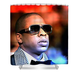 Shower Curtain featuring the mixed media Jay Z by Marvin Blaine