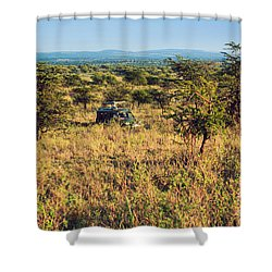 Jeep With Tourists On Safari In Serengeti. Tanzania. Africa. Shower Curtain by Michal Bednarek