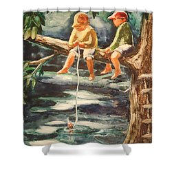 Jes Fishin Shower Curtain by Marilyn Jacobson