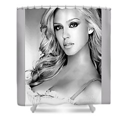 #1 Jessica Alba Shower Curtain by Alan Armstrong