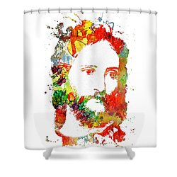 Jesus Christ - Watercolor Shower Curtain by Doc Braham