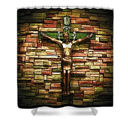 Jesus Is His Name Black Border Shower Curtain