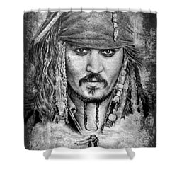 Johnny Depp Shower Curtain by Andrew Read