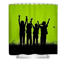 Jumping Kids Shower Curtain by Aged Pixel
