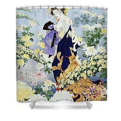 Kiku Shower Curtain by Haruyo Morita