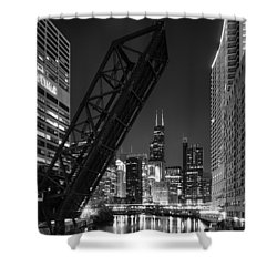 Kinzie Street Railroad Bridge At Night In Black And White Shower Curtain